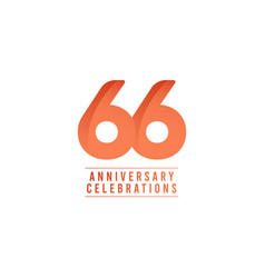 66 years anniversary celebration number text vector