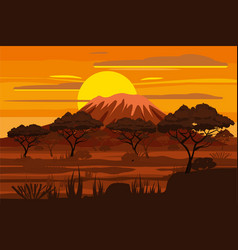 African sunset landscape savannah wild nature vector