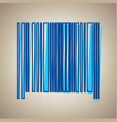 Bar code sign sky blue icon with defected vector
