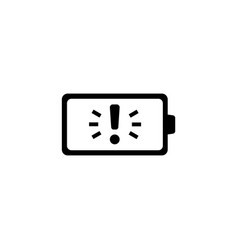 battery with exclamation flat icon vector image
