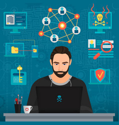 Bearded coder hacker vector