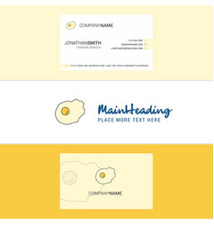 Beautiful fry egg logo and business card vertical vector