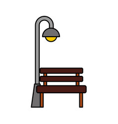 Bench and stree lamp post light bulb decoration vector