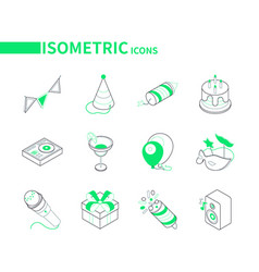 Birthday party celebration - modern line isometric vector