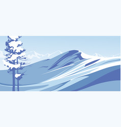 blue mountains with snow against blue sky vector image