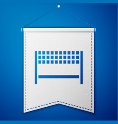 Blue ribbon in finishing line icon isolated on vector