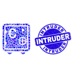 Blue scratched intruder stamp and euro banking vector