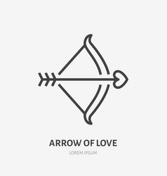 bow with arrow and heart flat line icon vector image