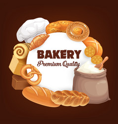 Bread bakery shop buns bagels and desserts vector