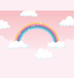 Bright rainbow cloudscape magic fantasy decoration vector