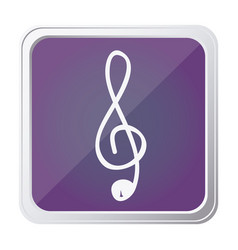 button of sign music treble clef with background vector image
