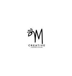 calligraphy letter m linked cute floral logogram vector image
