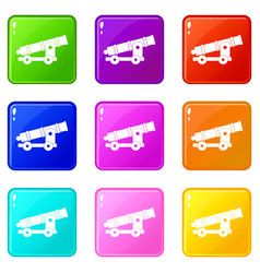Cannon icons 9 set vector