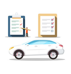 Car symbol with checklist icons buying cars vector