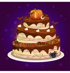 Cartoon chocolate and a big cake for Halloween vector