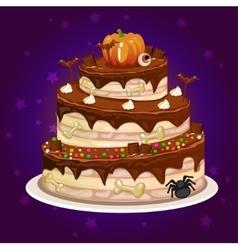 cartoon chocolate and a big cake for Halloween vector image