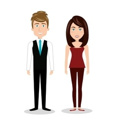 Cartoon man and woman standing human resources vector