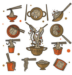 chinese food noodles in bowl or pack vector image