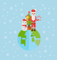 Christmas and new year santa gifts at earth flat vector