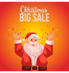 Christmas sale banner with cartoon half length vector image