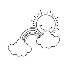 Clouds and rainbow cartoon in black and white vector