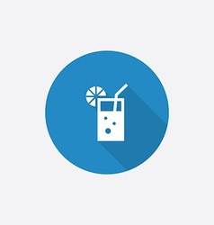 cocktail Flat Blue Simple Icon with long shadow vector image