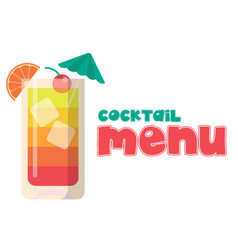 cocktail menu glass of cocktail background vector image