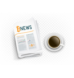 Coffee and bitcoin news on transparent vector