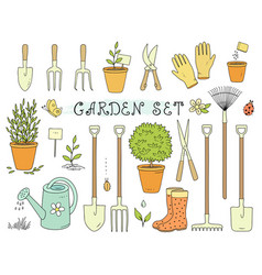 Colorful set of garden equipment vector
