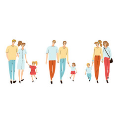 Colorful set with young families vector