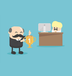 concept cartoon chief businessman who awards the vector image