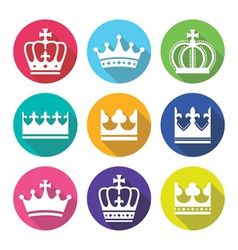 Crown royal family flat design icons set vector image