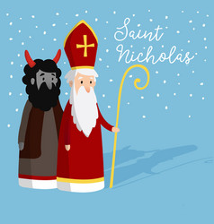 Cute saint nicholas with devil and falling snow vector