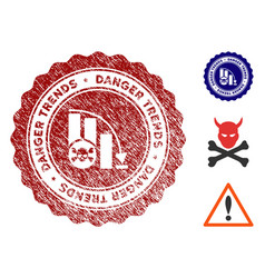 danger trends stamp with dirty effect vector image
