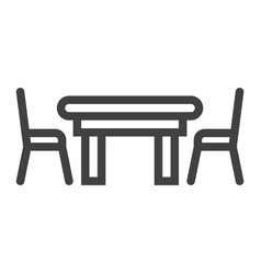 Dining table line icon furniture and interior vector