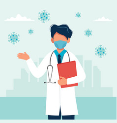 Doctor wearing a medical mask coronavirus vector