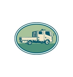 Double Cab Pick-up Truck Oval Woodcut vector