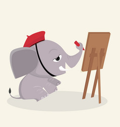 Elephant artist draws with paints vector