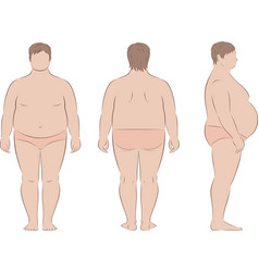 Fat male silhouette body fullness front back vector