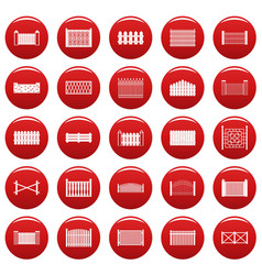 fence icons set vetor red vector image