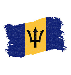 flag of barbados grunge abstract brush stroke vector image