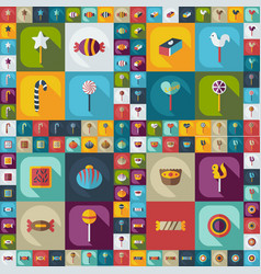Flat concept set modern design with shadow candy vector
