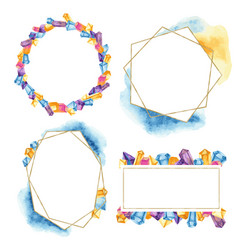 geometric frames with crystals vector image