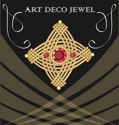 Golden art deco brooch with three red ruby gems vector