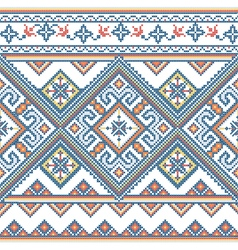 Handmade cross-stitch ethnic Ukraine pattern vector