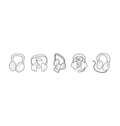 headset icon set outline style vector image