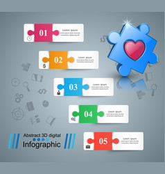 health heart puzzle icon 3d medical infographi vector image