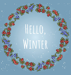 hello winter boho lettering in a wreath of red vector image