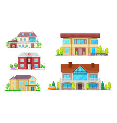 house buildings cottage village homes and villas vector image