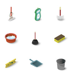 Housework icons set isometric style vector